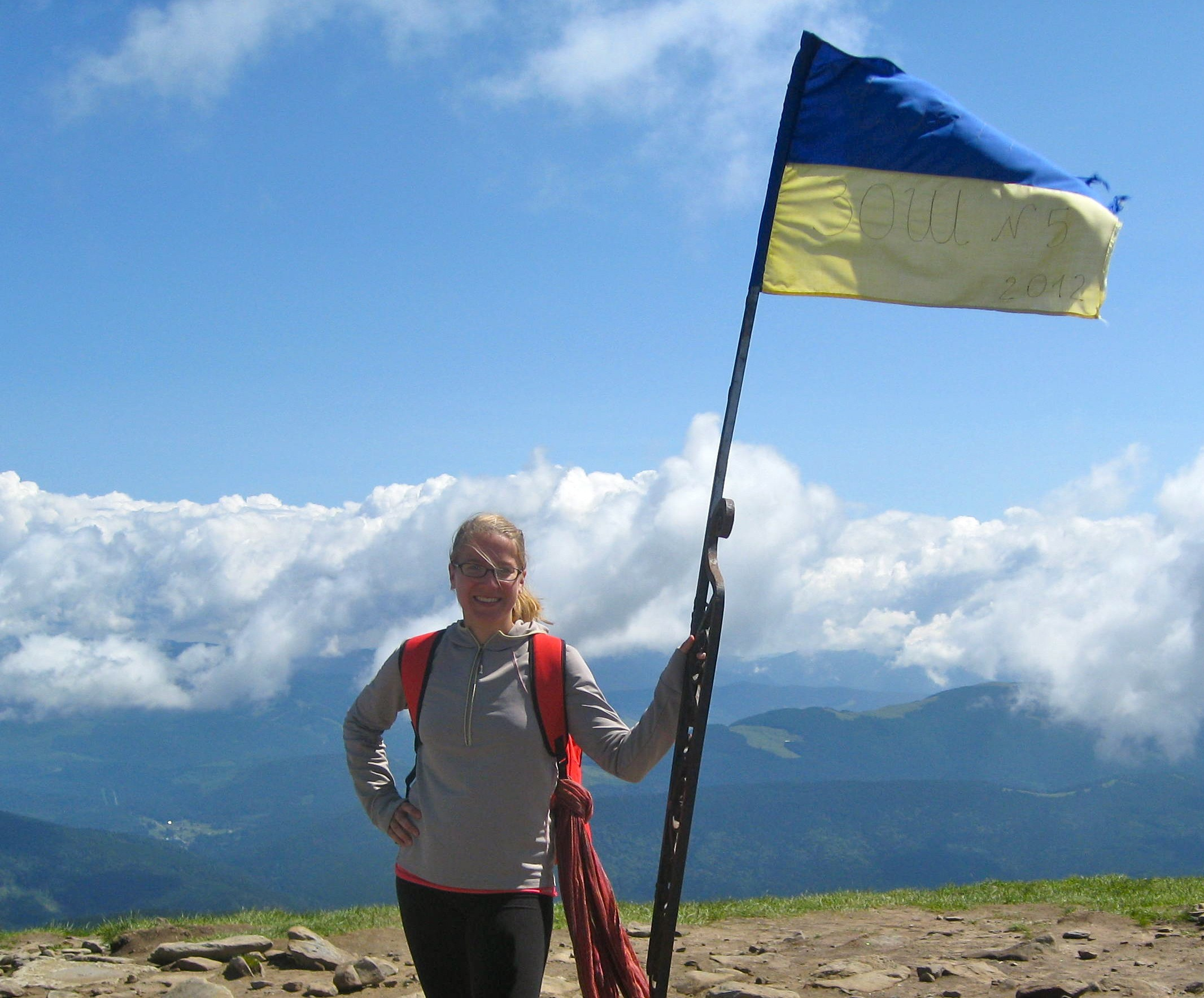 Atop Mt. Hoverla, the highest mountain in the Ukrainian Carpathians (2061m)